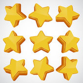 Golden star. different angles. — Stock Vector