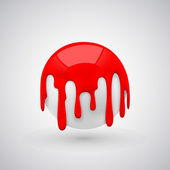 Vector ball with paint drops. Red — Stock Vector