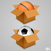 The ball in the box — Stock Vector