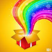 Open gift with rainbow — Stock Vector
