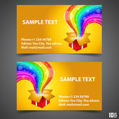 Business Card Open gift with rainbow — Stock Vector