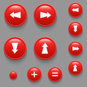 Vector directional buttons red — Stock Vector
