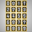 Numbers from Mechanical Scoreboard Alphabet — Stock Vector