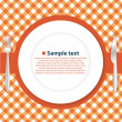 Plate on tablecloth — Stockvector #34608079