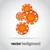 Illustration of Falling Orange Poker Chips — Stock Vector