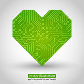Vector heart. circuit board. Green variant — Stock Vector