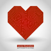 Vector heart. circuit board. Red variant — Stock Vector