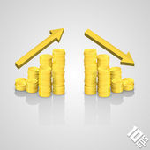 Rising stack of coins — Stock Vector