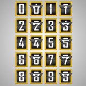 Numbers from Mechanical Scoreboard Alphabet — Stock Vector