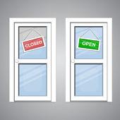 Doors Open Closed — Stock Vector