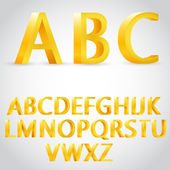 Vector 3d golden alphabet — Stock Vector