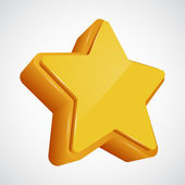 3d vector star. Yellow variant — Stock Vector