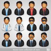 Vector icon collection of men — Stock Vector