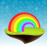 Floating island with a rainbow — Stock Vector