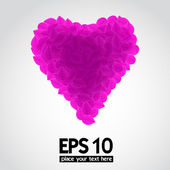 Leaf valentine pink hearts — Stock Vector