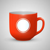 Mug with space for text color red — Stock Vector