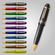 Collection of pens — Image vectorielle