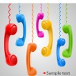 Hanging colored handsets — Stock Vector