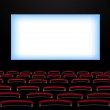 Cinema auditorium with screen and seats. — Stock Vector #34878877