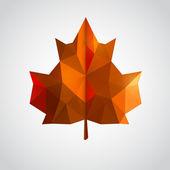 Low poly yellow leaf. Vector illustration — Stok Vektör