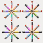 Círculo de lápices de colores — Vector de stock