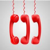 赤い携帯電話をぶら下げ — ストックベクタ