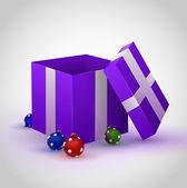 Lila geschenkbox auf grauem hintergrund mit cristmas spielzeug — Stockvektor