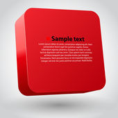 Vector illustration of 3d square. Red variant — Stock Vector