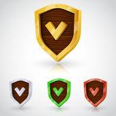 Vector accept color shield collection — Stock Vector