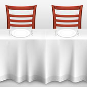 Table with a tablecloth and chair — Vector de stock