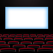 Cinema auditorium with screen and seats. — Stock Vector