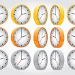 Vector gold, silver, bronze clock collection — Stock Vector