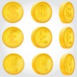 Vector coin rotation dollar euro pound sterling gold — Stock Vector #34896213
