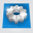 Vector gear drawing blueprint — Imagen vectorial