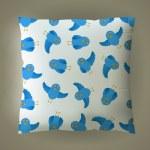 Vector pillow with blue bird pattern — Stock Vector #34896357