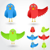 Vector colorful cartoon birds collection — Stock Vector