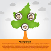 Family tree with cartoon family faces — Stock Vector