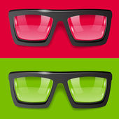 Vector glasses green red background — Stock Vector