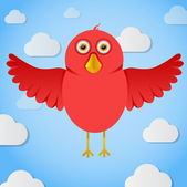 Vector red cartoon bird fly in the sky — Stock Vector