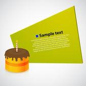 Imagen vectorial con pastel de cumpleaños — Vector de stock