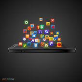 Smartphone com nuvem de ícones da aplicação. — Vetor de Stock