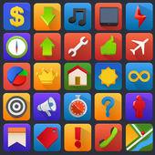Vector icon set. Multimedia, mobile, software. — Stockvektor