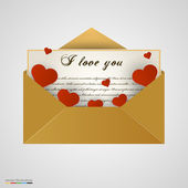 Envelop with letter and hearts. — Stock Vector