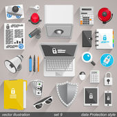 Vector data Protection style. set 9 — Stock Vector