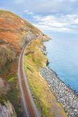 Railway next to the coast — Stock Photo