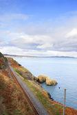 Railway next to the coast — Stock Photo