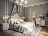 Classic bedroom interior — Stockfoto