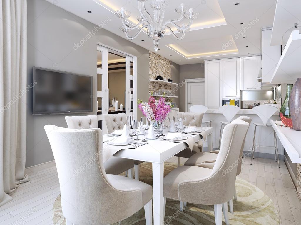 Cozinha sala de jantar em estilo neoclássico — Fotografia de Stock  #6C604E 1024 768