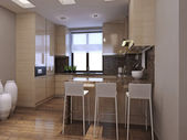 在现代风格的厨房餐厅 — 图库照片