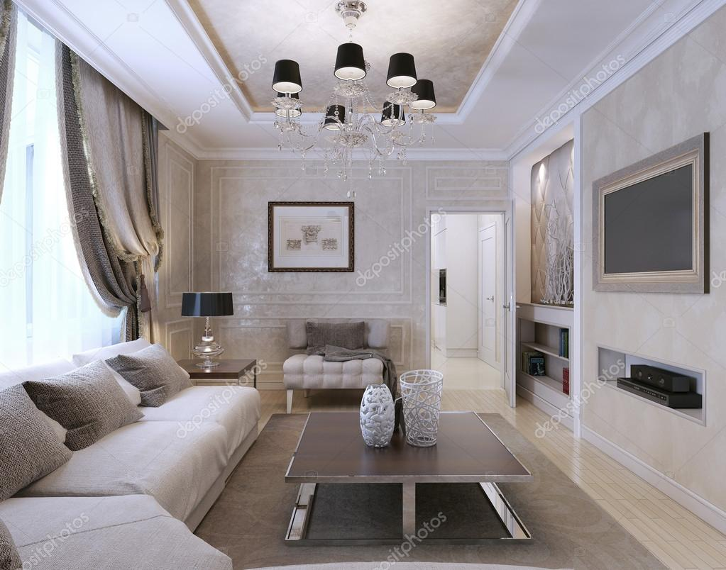 Salon w stylu art deco styl klasyczny zdj cie stockowe for Living estilo clasico